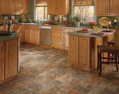 Vinyl Flooring In This Kitchen Stimulates The Beauty Of Stone Tile